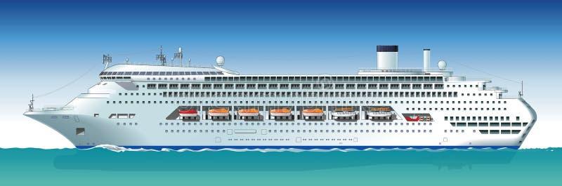 Vector hallo-hi-detailed cruiseschip royalty-vrije illustratie