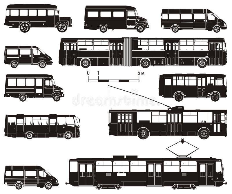 Vector hallo-hi-detailed openbaar vervoerreeks vector illustratie