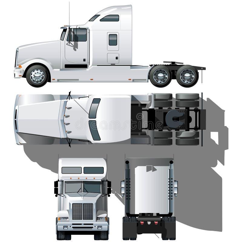 Vector hallo-hi-detailed semi-vrachtwagen stock illustratie