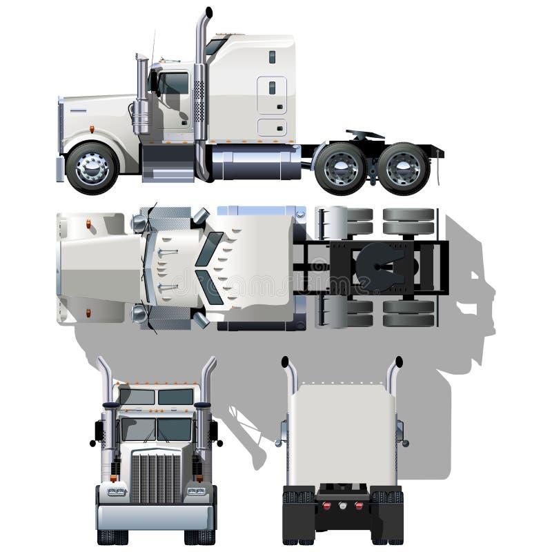 Vector hallo-hi-detailed semi-vrachtwagen vector illustratie