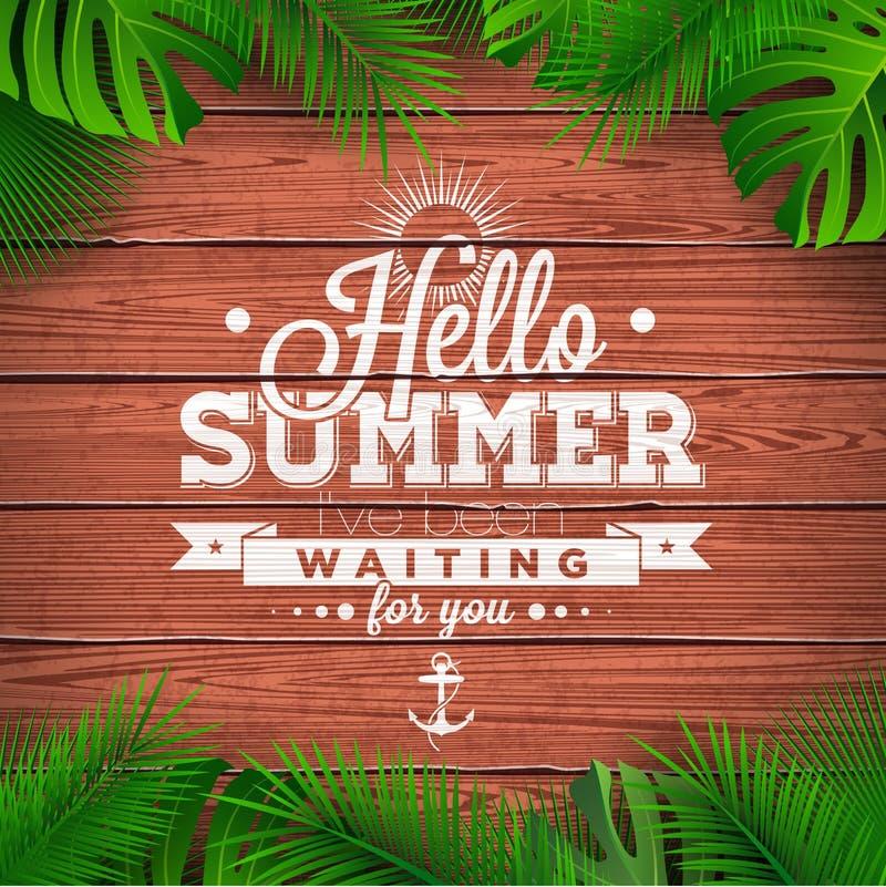 Vector hallo typografische Illustration des Sommers mit tropischen Anlagen auf hellblauem Hintergrund vektor abbildung