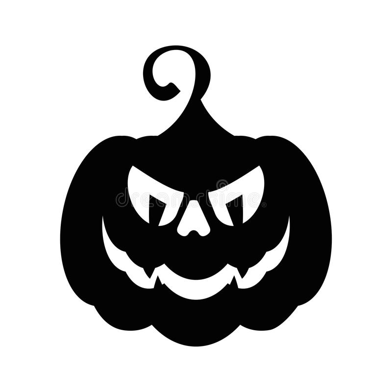 Vector halloween angry pumpkin black icon. Halloween party sign stock illustration