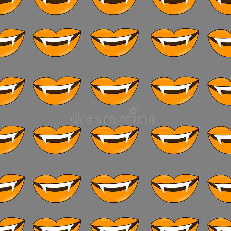 Vector Halloween background. Seamless pattern of vampire smiles in traditional colors of the holiday. stock illustration