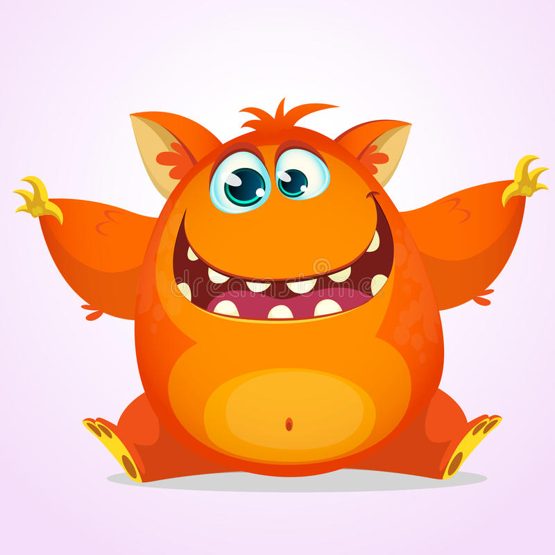Vector Halloween cartoon of an orange fat and fluffy Halloween monster. Cute monster with big ears smiling and waving stock illustration