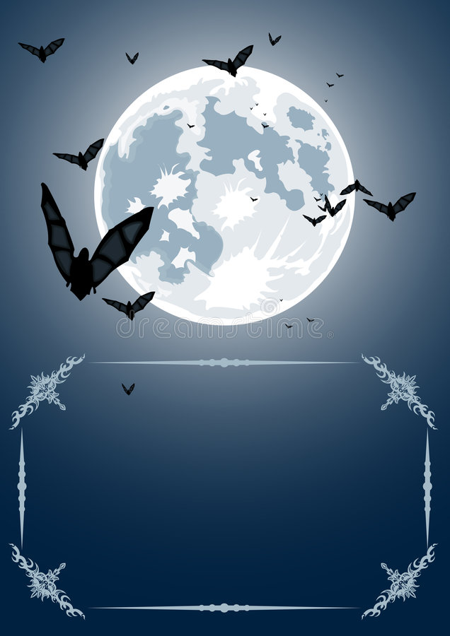 Vector Halloween Frame With Moon And Bats Royalty Free Stock Images