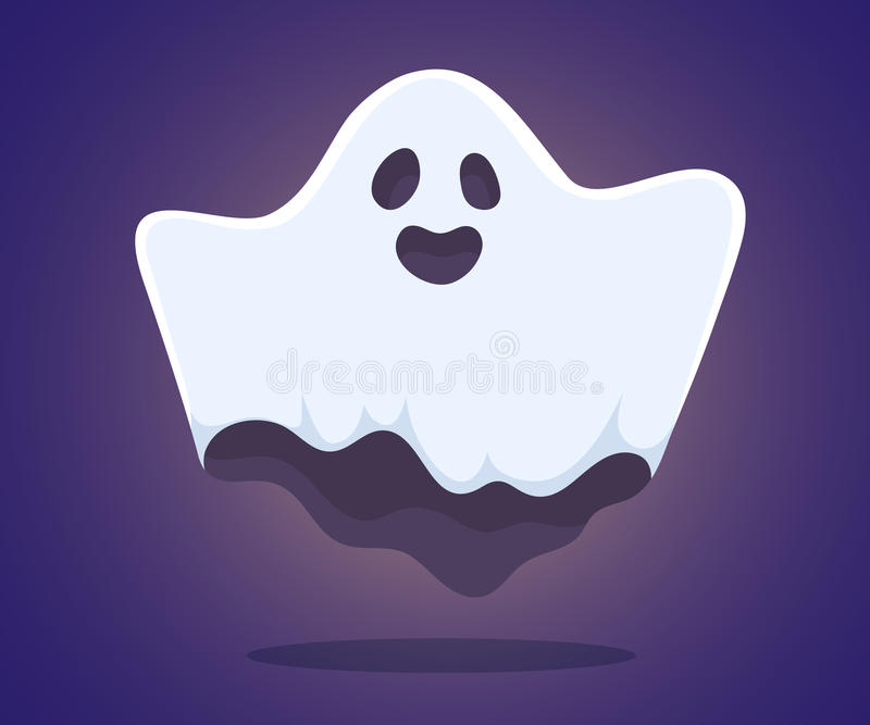 Vector halloween illustration of white flying ghost with eyes royalty free stock image