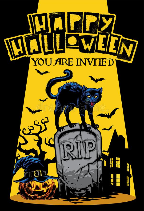 Halloween invitation design with cat standing on the top of tomb. Vector for halloween invitation design with cat standing on the top of tomb royalty free illustration
