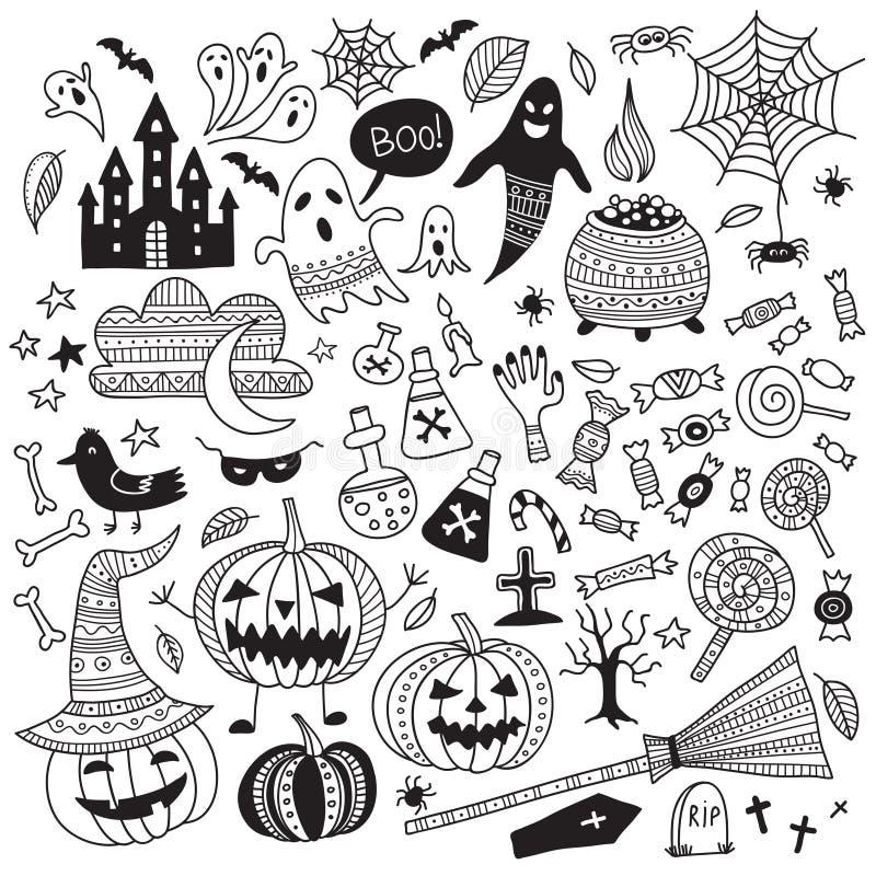 Vector halloween items in boho ornamental style vector illustration