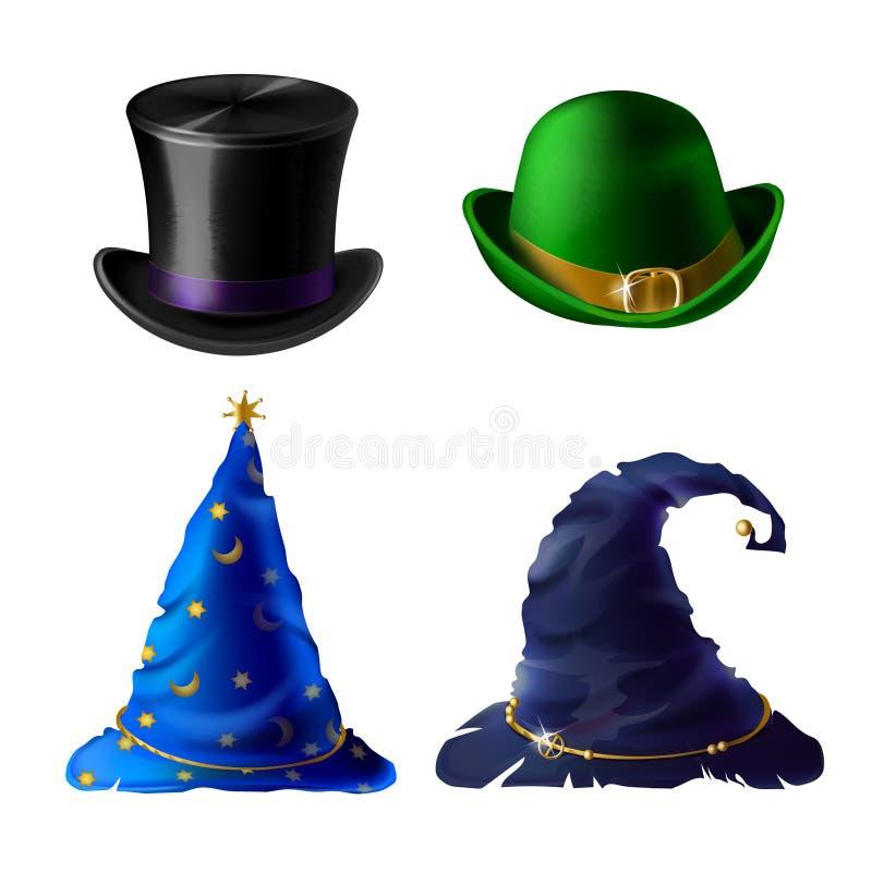 Vector Halloween-Kopfschmuck - Zylinder, Werfer, Kappe lizenzfreie abbildung