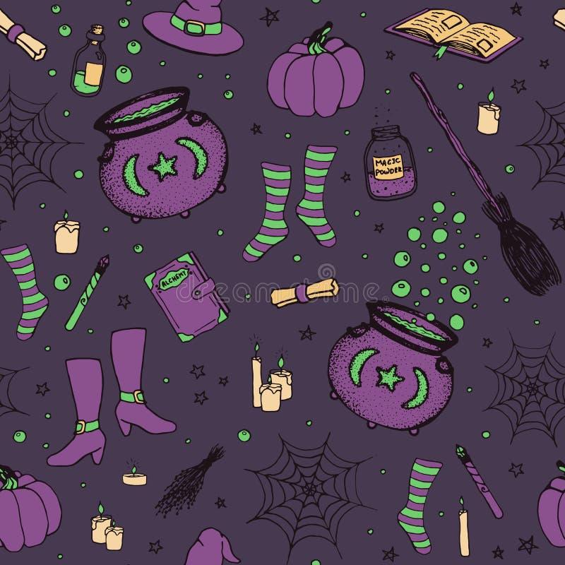 Vector Halloween-Muster mit Hand gezeichnetem Kürbis, großer Kessel, Spinnennetz, Tränke, magische Bücher, witch's Besen, Hut,  vektor abbildung