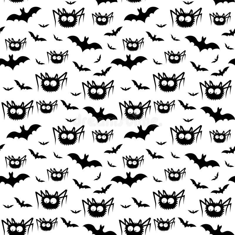 Vector Halloween-Muster von schwarzen Spinnen und von Schlägern vektor abbildung