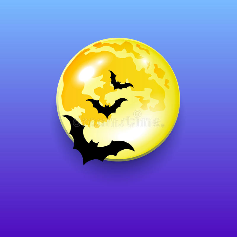 Vector halloween night moon horror bat background vector illustration
