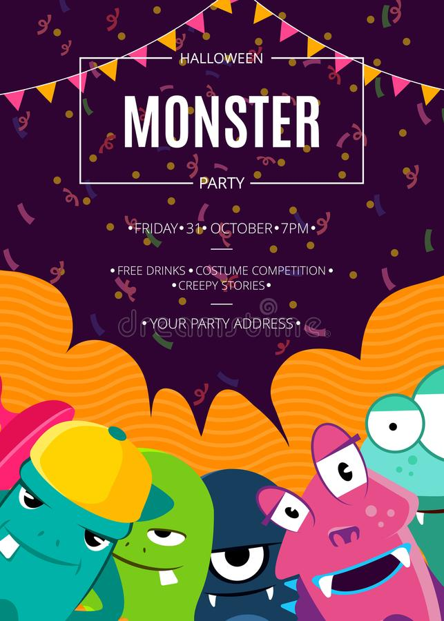 Vector Halloween party invitation poster with crowd of cute monsters, confetti and garlands vector illustration