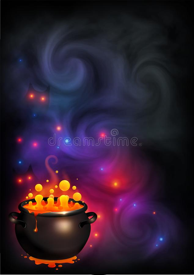 Vector Halloween poster with orange bubbling witch brew in black pot on dark violet smoke and magic lights background vector illustration
