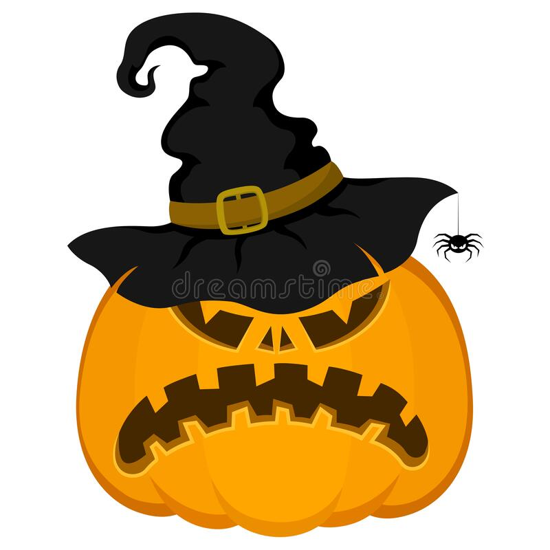 Free Vector Halloween Pumpkin With Hat, Spider. Cartoon Style. Autumn Symbol Of A Bright Holiday Stock Photo - 193159490