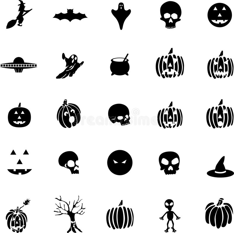 Download Vector Halloween Symbols, Witches, Pumpkins, Ghost Stock Vector - Image: 8903864