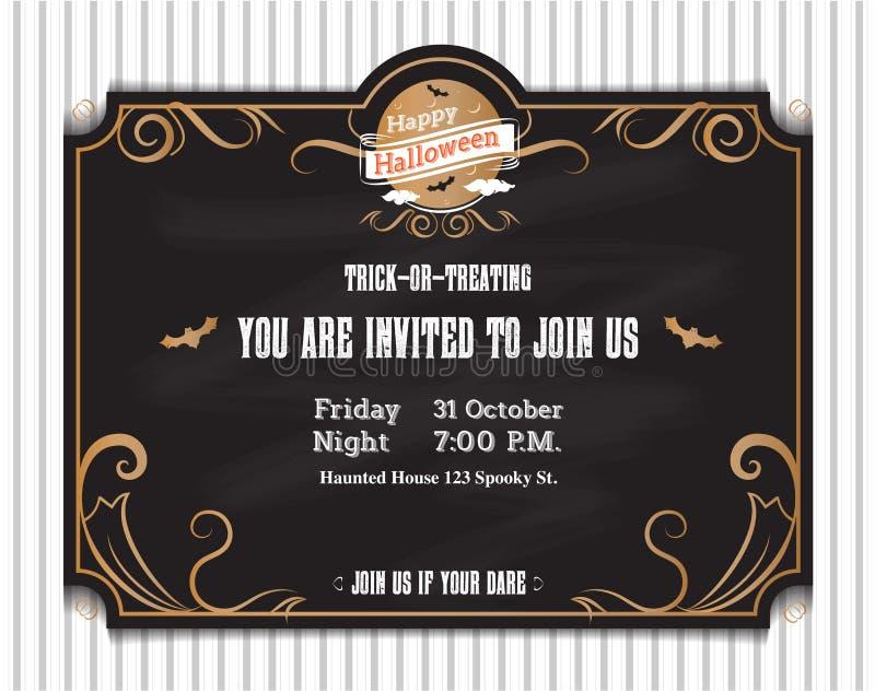Vector, Halloween-uitnodigingskaart aan partij met uitstekend ornament stock illustratie