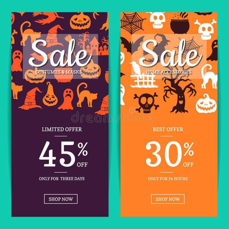 Vector Halloween-Verkaufsfahnenschablonen mit Hexen, Kürbise, Geister, Spinnenschattenbilder lizenzfreie abbildung