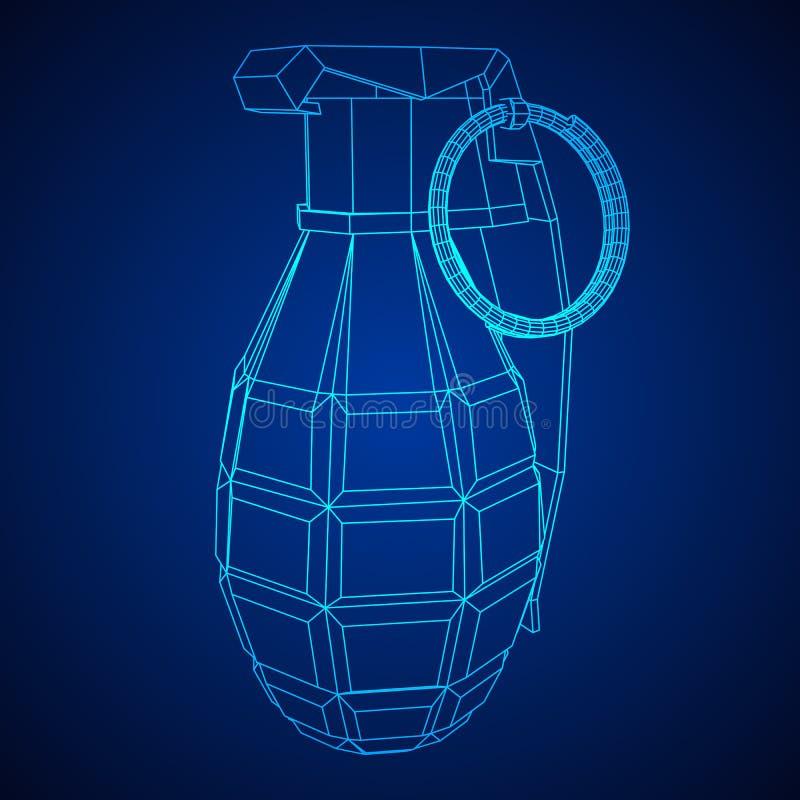 Vector hand bomb. Hand bomb frag grenade wireframe low poly mesh vector illustration vector illustration