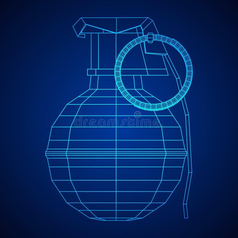 Vector hand bomb. Hand bomb frag grenade wireframe low poly mesh vector illustration stock illustration