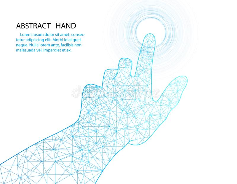 Vector hand and circle tech design on white color background. royalty free illustration