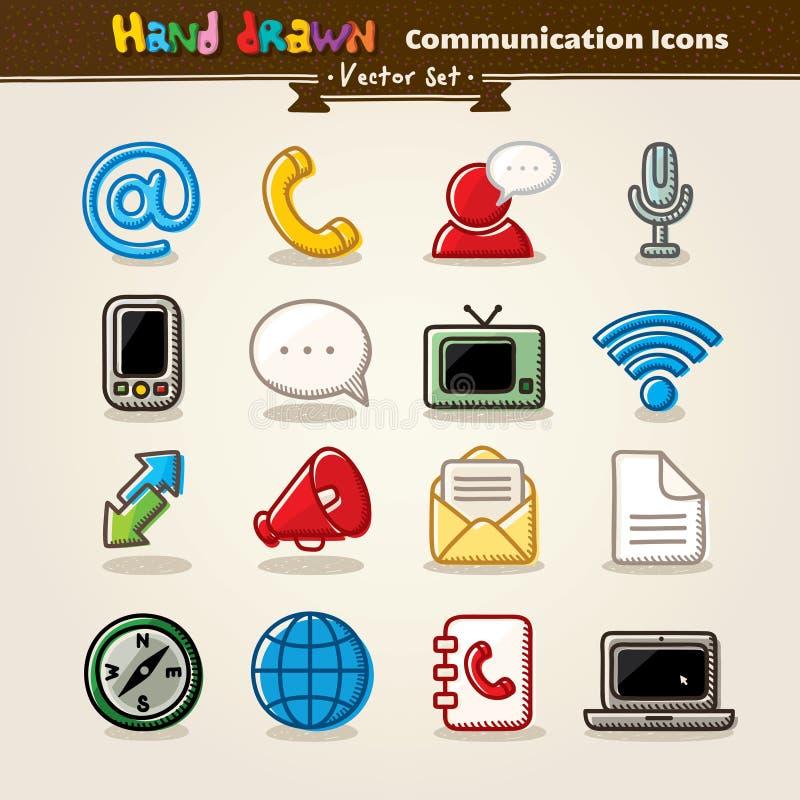 Vector Hand Draw Communication Icon Set royalty free illustration