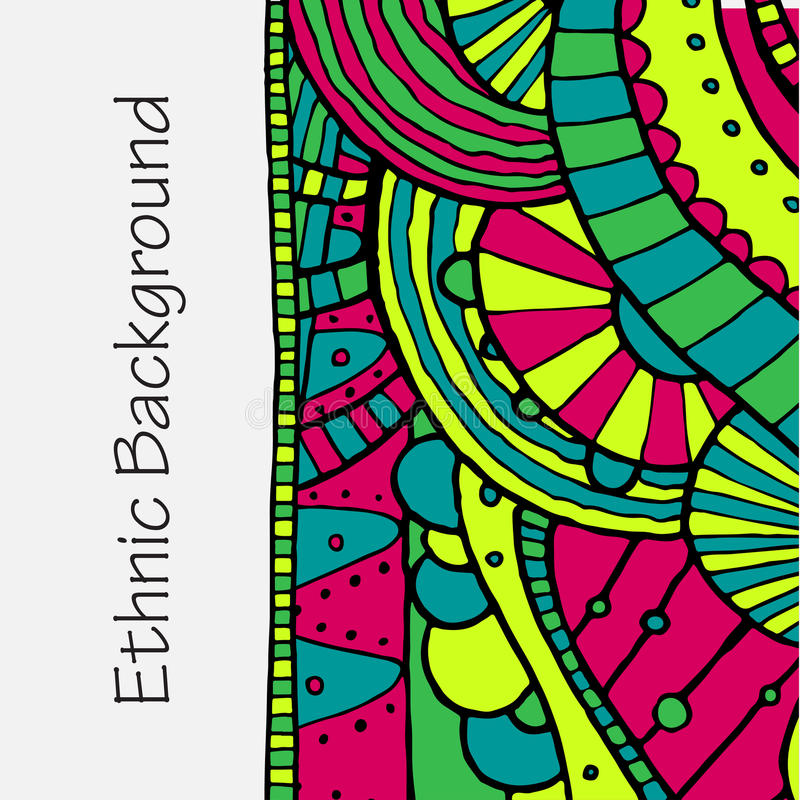 Vector hand draw ethnic background stock illustration