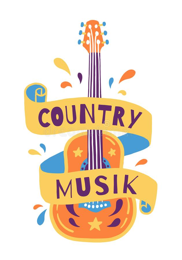 Vector hand draw illustration with acoustic guitar and lettering. ountry music Great element for music festival or t stock illustration