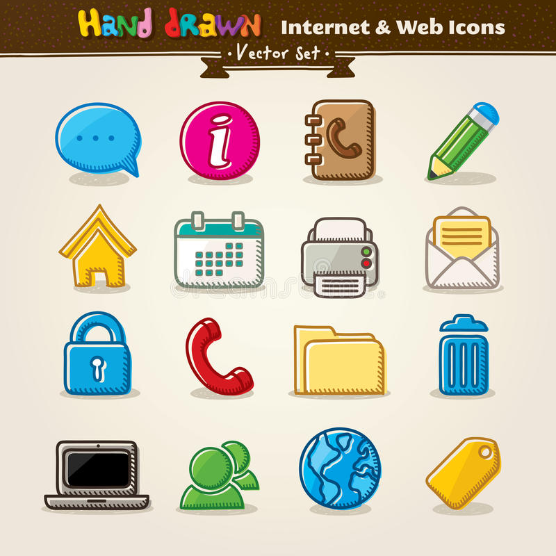 Vector Hand Draw Internet And Web Icon Set royalty free illustration
