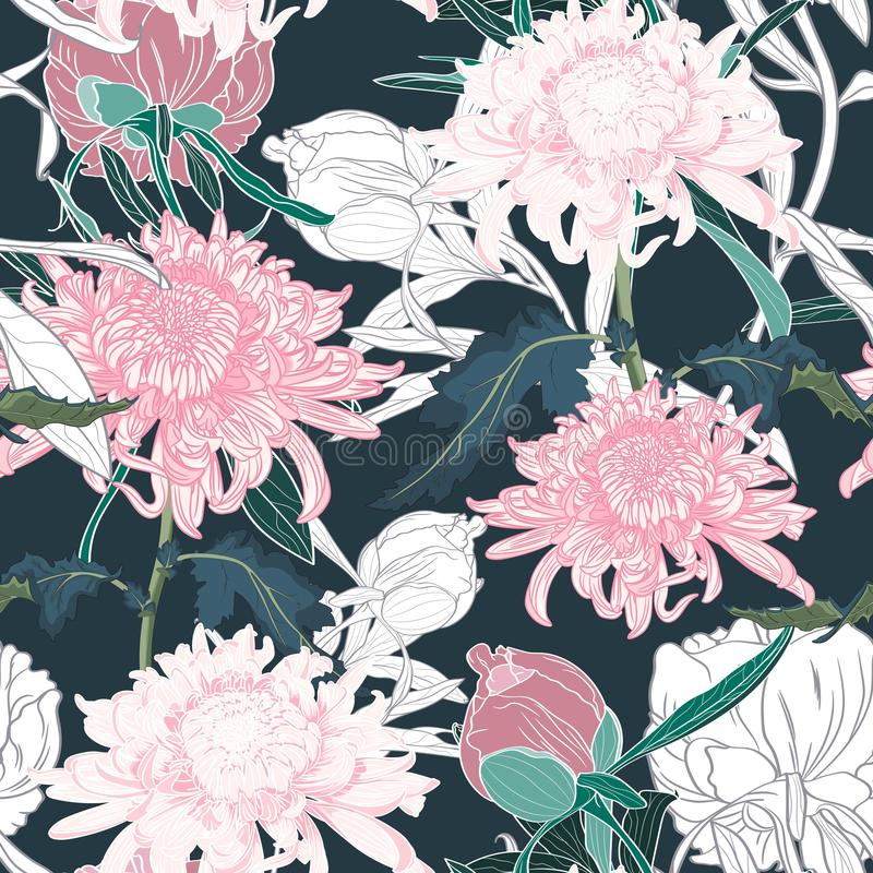 Vector hand draw seamless pattern with Japanese chrysanthemum and peonies. stock illustration