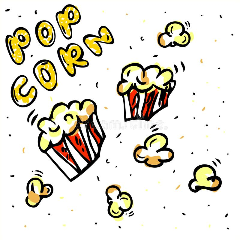 Hand draw sketch various Yellow and orange Spilled shape Pop Corn and 2 red box vector illustration
