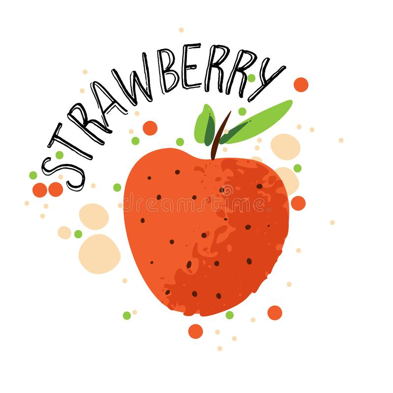 Vector hand draw strawberry illustration. Red strawberries with juice splash isolated on white background. Textured stock illustration