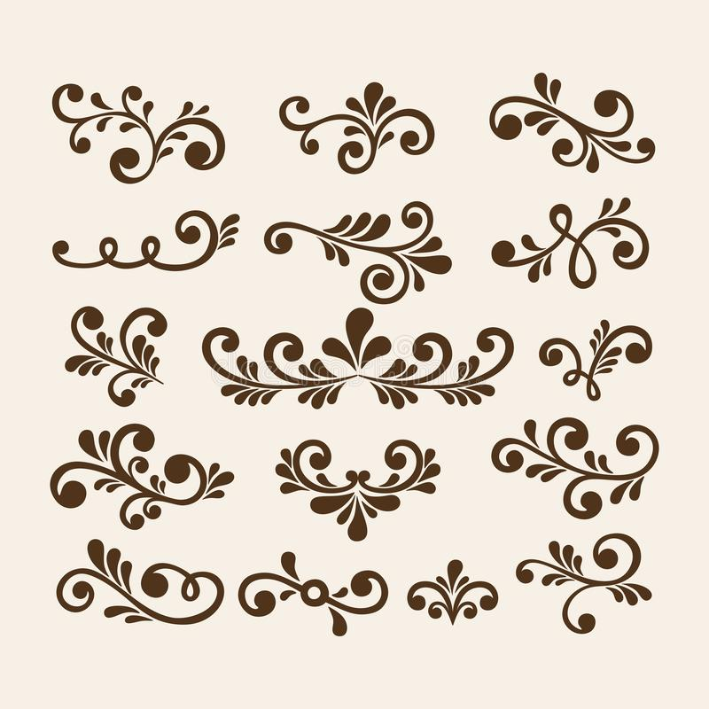 Vector hand draw vintage floral design elements. Flowers decorative elements. Floral elements for decoration set. royalty free illustration