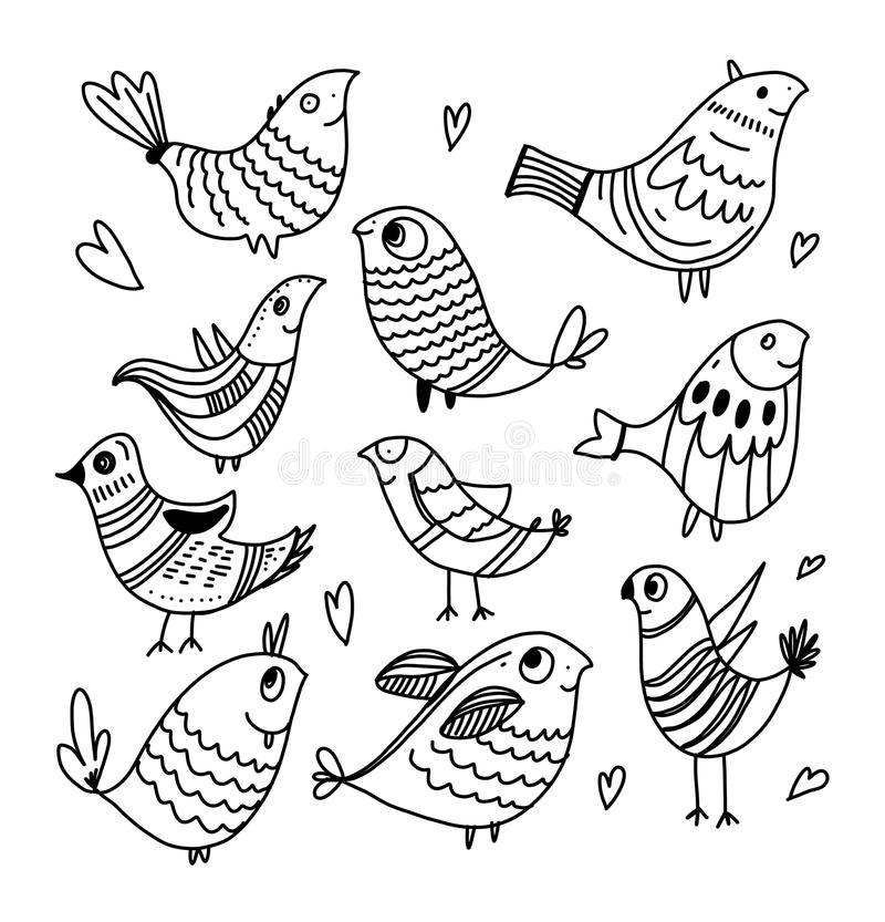 Vector hand drawing of chickens style line art. vector illustration