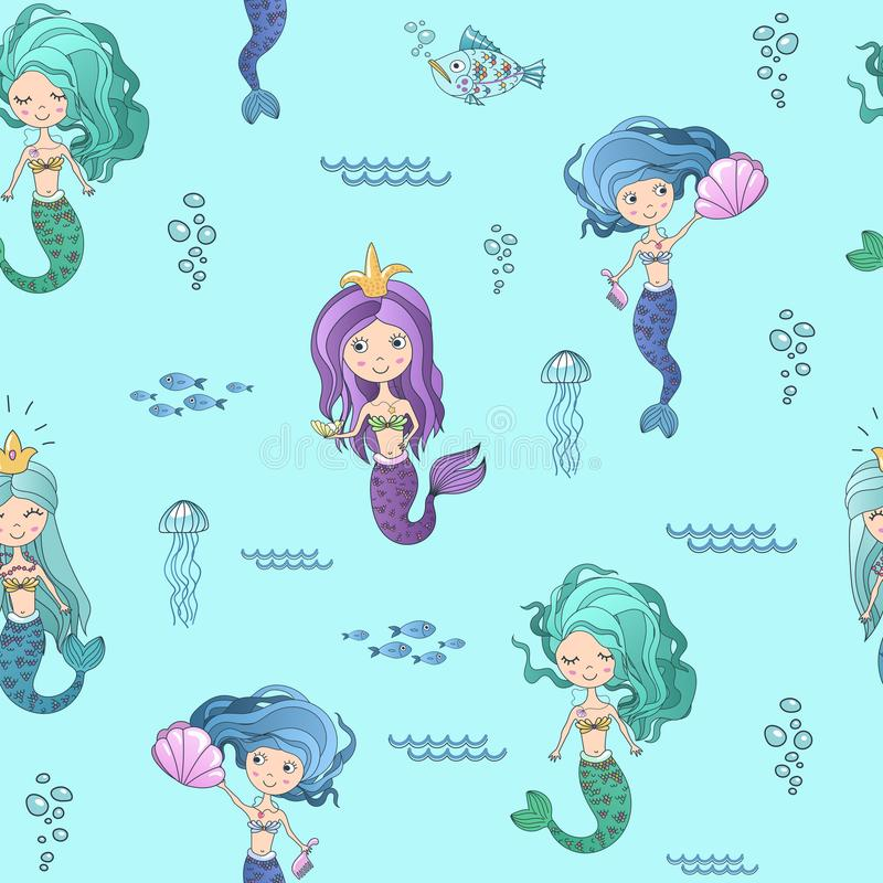 Vector hand drawing cute little mermaid princess seamless pattern background. vector illustration