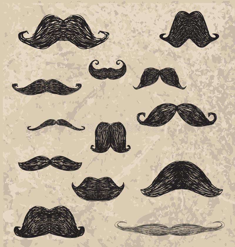 Vector hand drawing different hipster moustache royalty free illustration