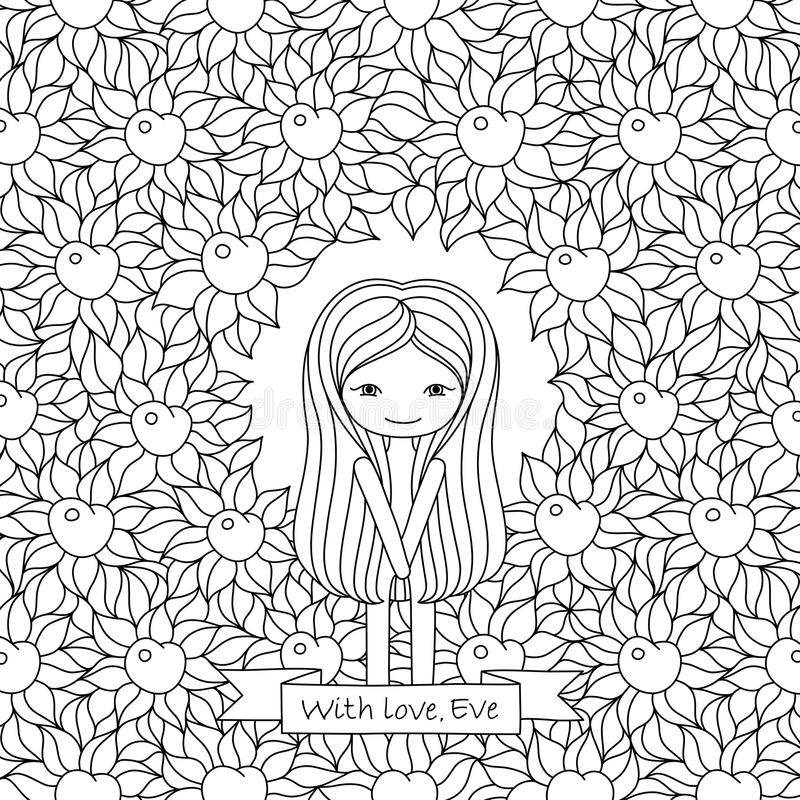 Vector hand drawing illustration with Eve and floral background vector illustration