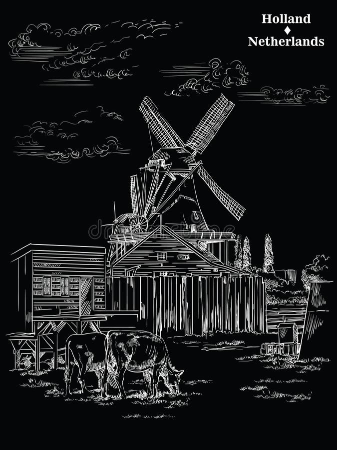 Black vector hand drawing Holland 1. Vector hand drawing Illustration of Landmark watermill in Amsterdam Netherlands, Holland. Watermill and cows grazing on the royalty free illustration