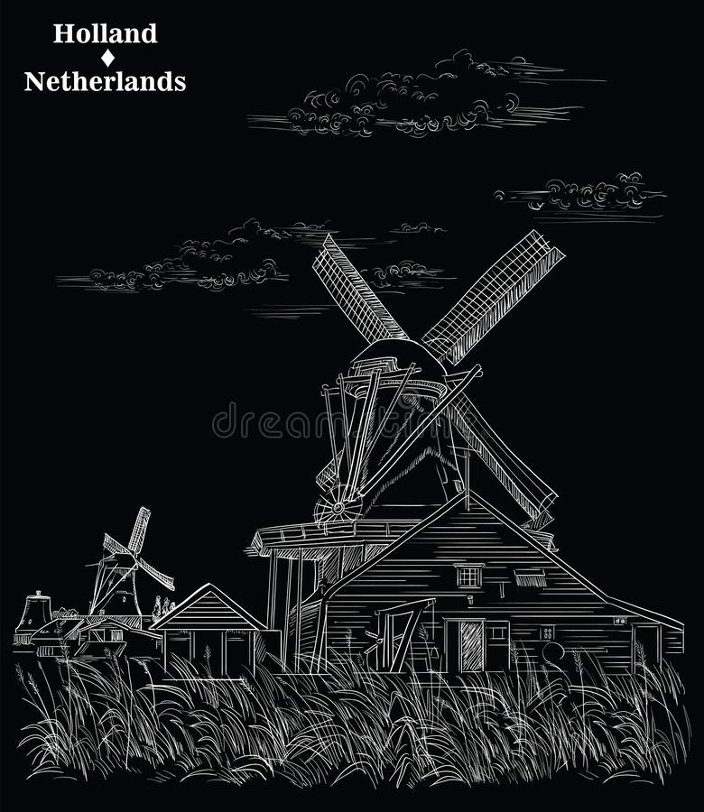Black vector hand drawing Holland 3. Vector hand drawing Illustration of Landmark watermill in Amsterdam Netherlands, Holland. Vector engraving illustration in stock illustration