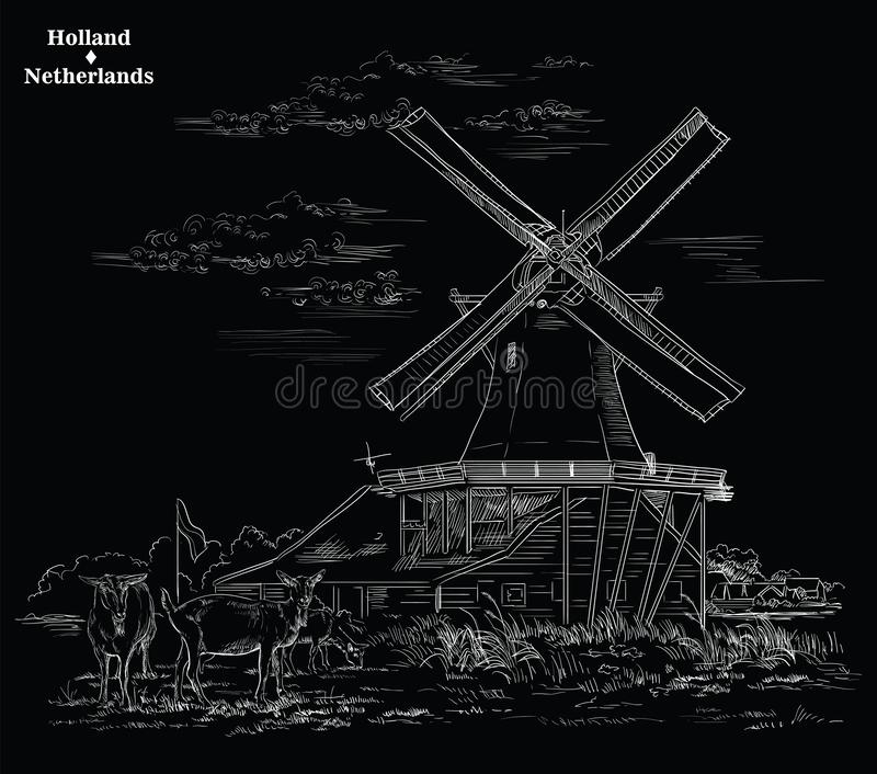 Black vector hand drawing Holland 4. Vector hand drawing Illustration of Landmark watermill in Amsterdam Netherlands, Holland. Watermill and goats grazing on the stock illustration