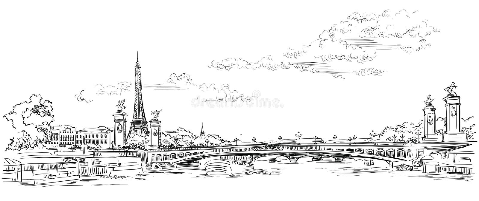 Vector hand drawing Paris 4. Vector hand drawing Illustration of Eiffel Tower Paris, France. Landmark of Paris. Panoramic cityscape with Eiffel Tower and Pont vector illustration