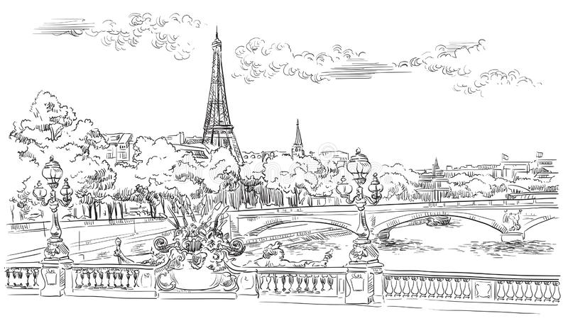 Vector hand drawing Paris 8. Vector hand drawing Illustration of Eiffel Tower Paris, France. Landmark of Paris. Cityscape with Eiffel Tower and Pont Alexandre stock illustration