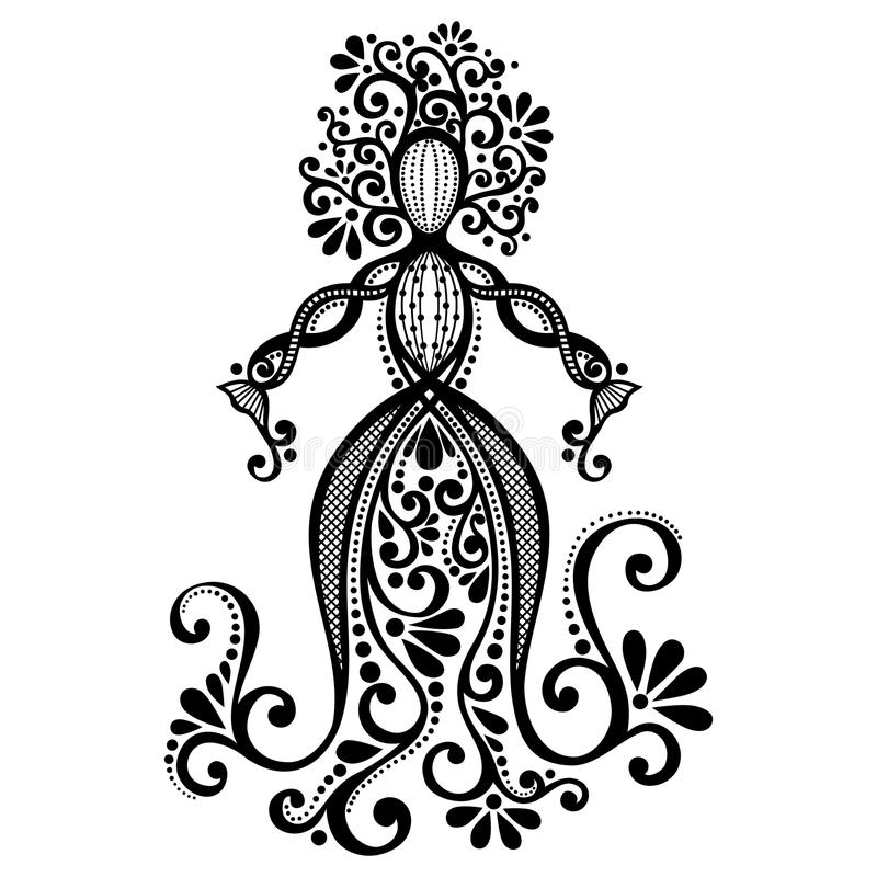 Vector Hand Drawing Silhouette of Floral Goddess. Patterned Design stock illustration