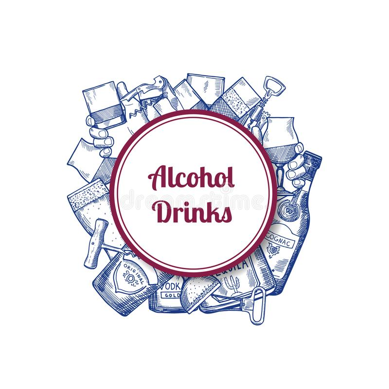 Vector hand drawn alcohol drink bottles and glasses. Under circle with place for text illustration stock illustration