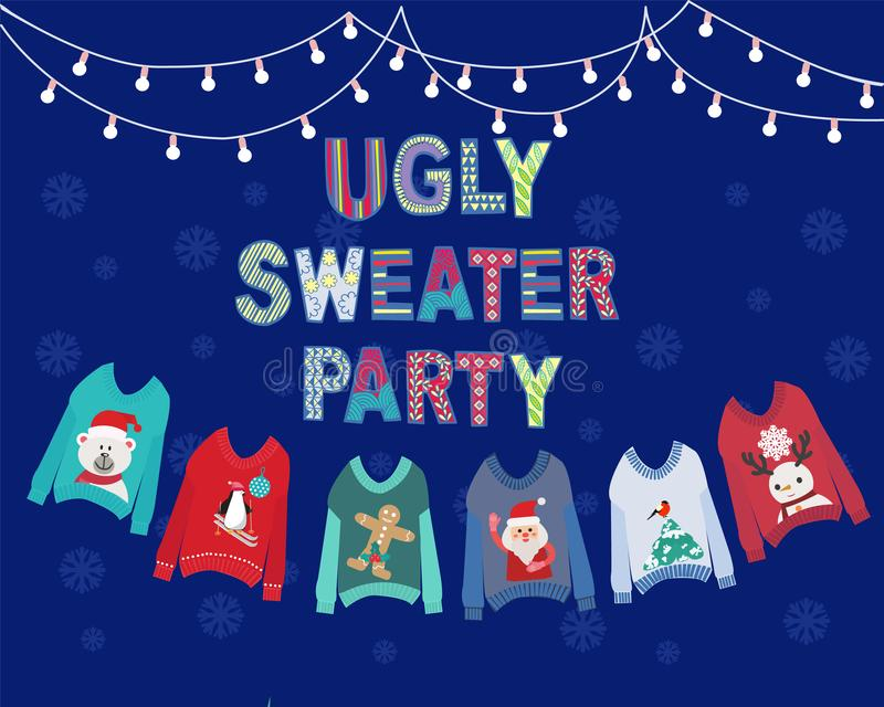 Christmas holiday cute ugly sweater party invitation design royalty free illustration