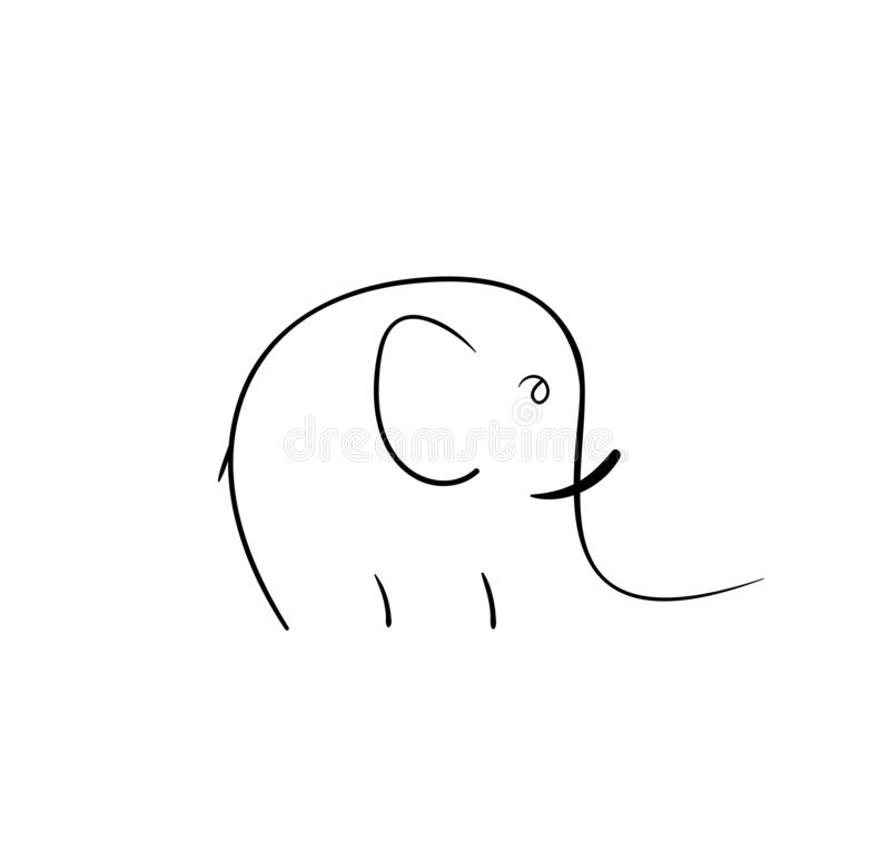 Vector hand drawn black doodle sketch elephant standing isolated on white background vector illustration