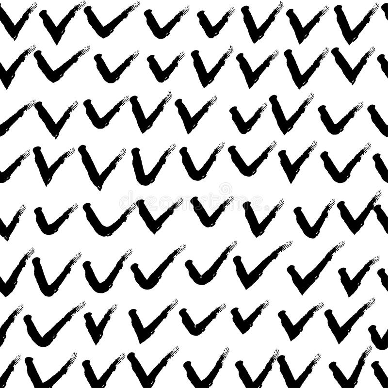Vector hand drawn black and white seamless pattern in grunge style. Brush stroke, geometric shapes ornament illustration. Good for packaging paper, wallpaper stock illustration