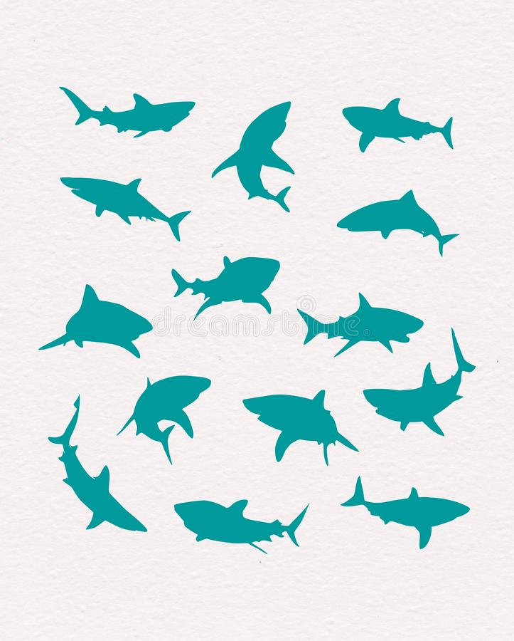 Vector hand-drawn blauwe haaiensilhouetten stock illustratie