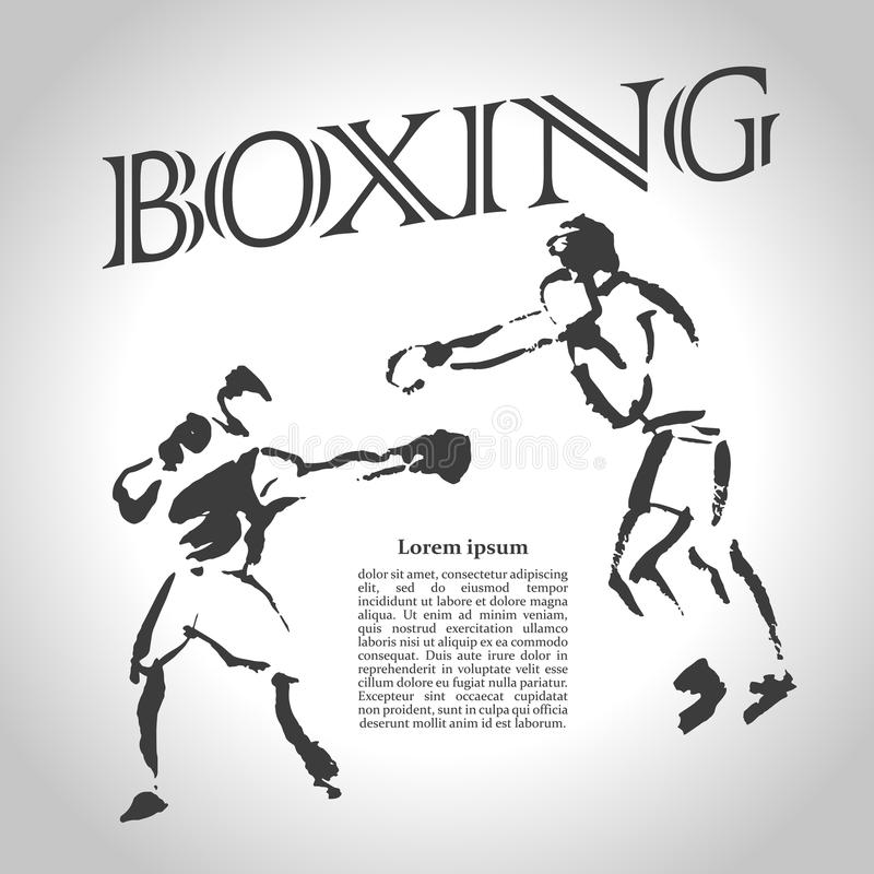 Vector hand drawn boxer sketch royalty free illustration