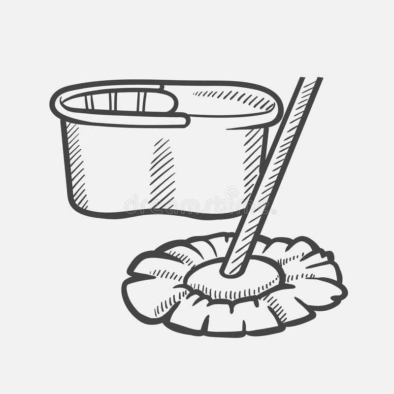 Bucket and mop hand drawn sketch icon. stock illustration